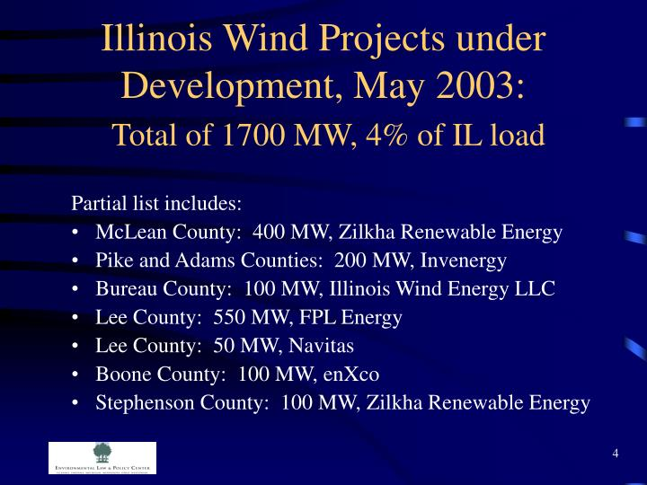 Illinois Wind Projects under Development, May 2003: