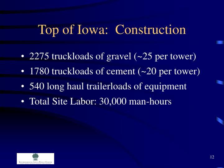 Top of Iowa:  Construction