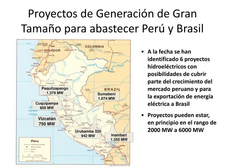 Proyectos de Generación de Gran Tamaño para abastecer Perú y Brasil