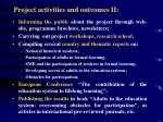 project activities and outcomes ii