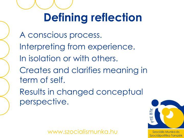 Defining reflection