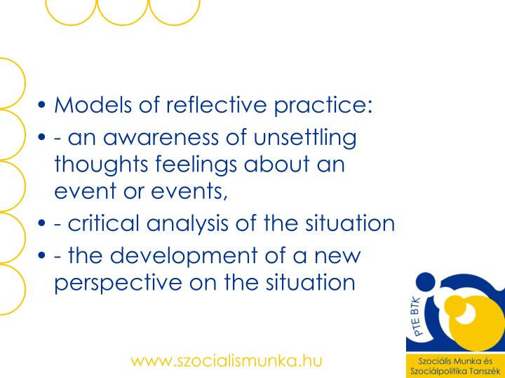 Models of reflective practice: