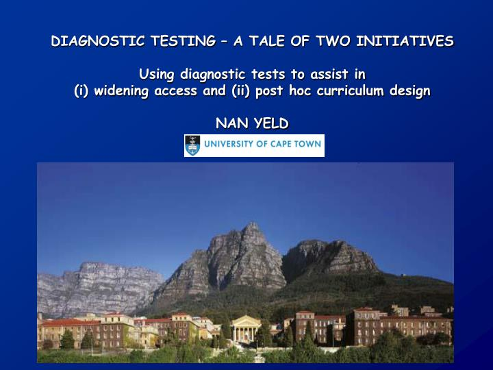 DIAGNOSTIC TESTING – A TALE OF TWO INITIATIVES