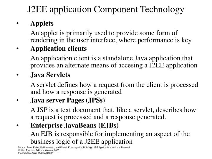 J2EE application Component Technology