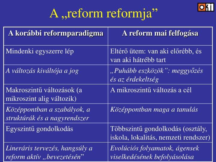 "A ""reform reformja"""