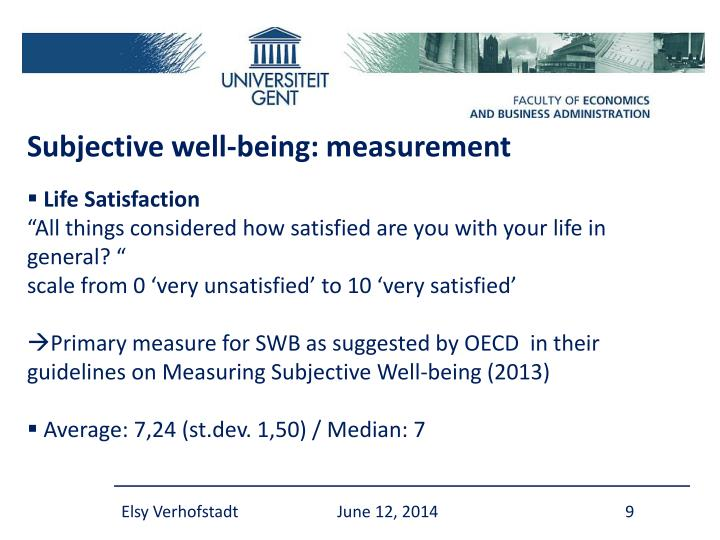 Subjective well-being: measurement