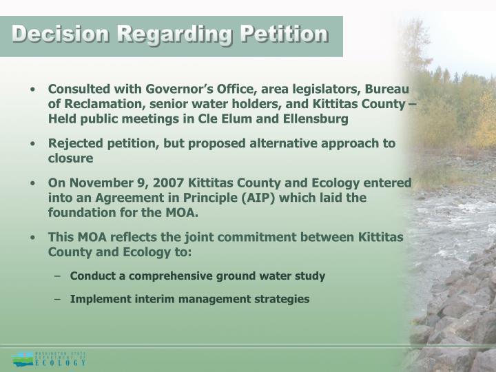 Decision Regarding Petition