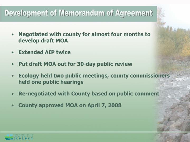 Development of Memorandum of Agreement