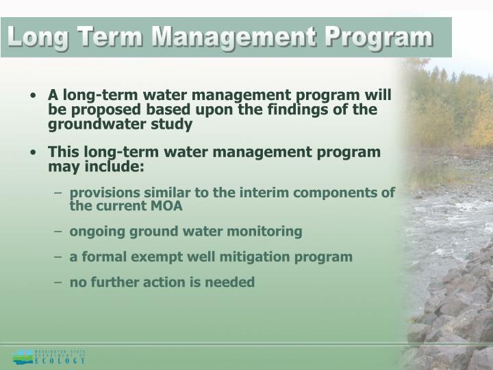 Long Term Management Program