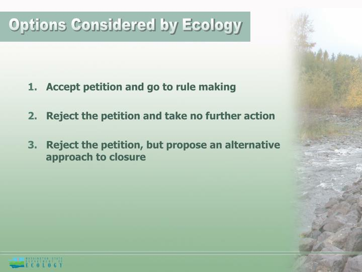 Options Considered by Ecology