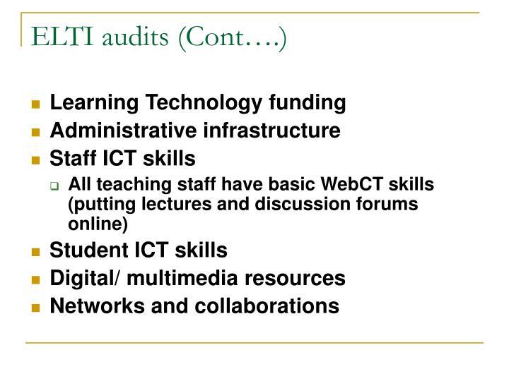 ELTI audits (Cont….)