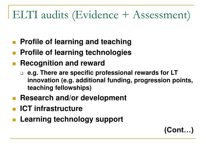 ELTI audits (Evidence + Assessment)