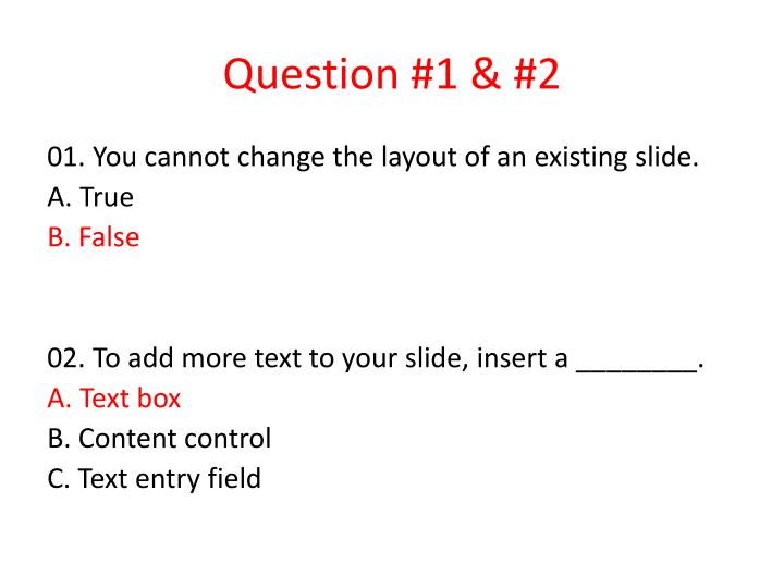 Question 1 2