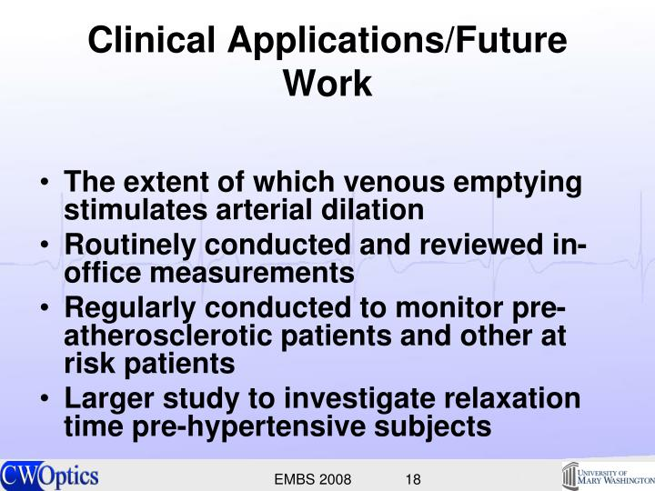 Clinical Applications/Future Work