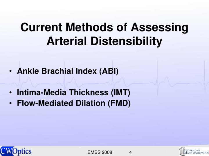 Current Methods of Assessing Arterial Distensibility