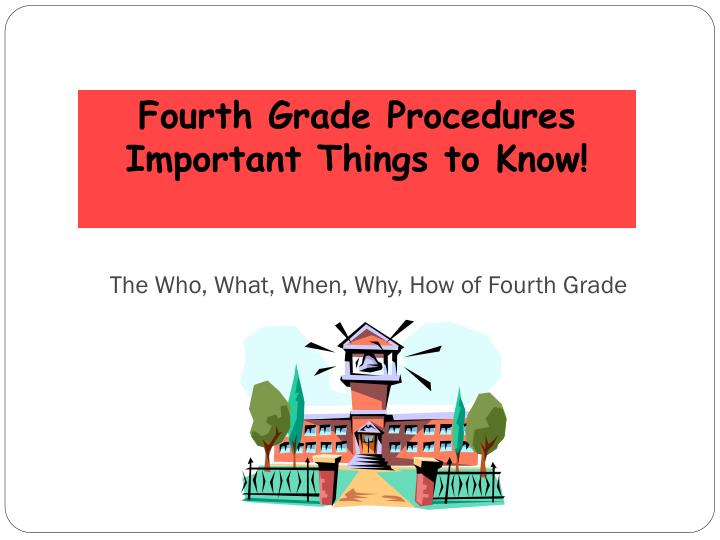 The Who, What, When, Why, How of Fourth Grade
