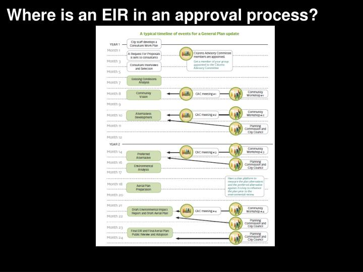 Where is an EIR in an approval process?