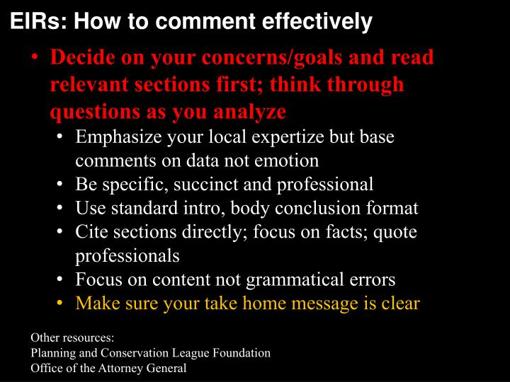 EIRs: How to comment effectively