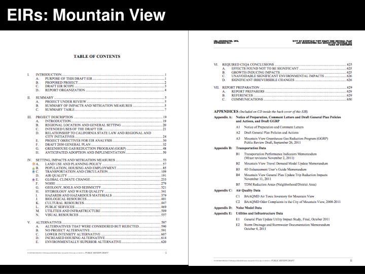 EIRs: Mountain View