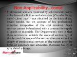 non applicability contd1
