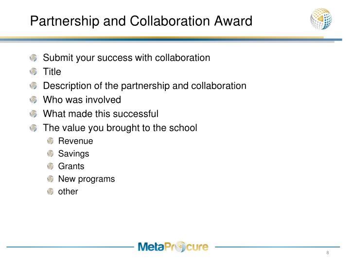 Partnership and Collaboration Award