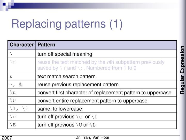 Replacing patterns (1)