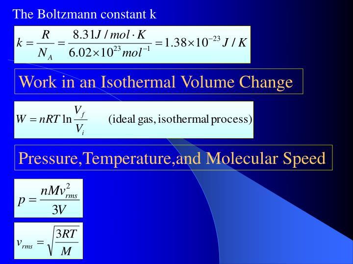 The Boltzmann constant k