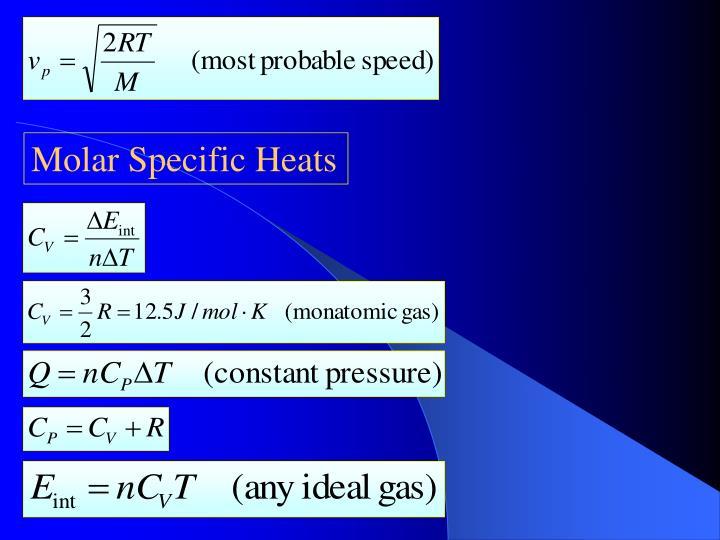 Molar Specific Heats