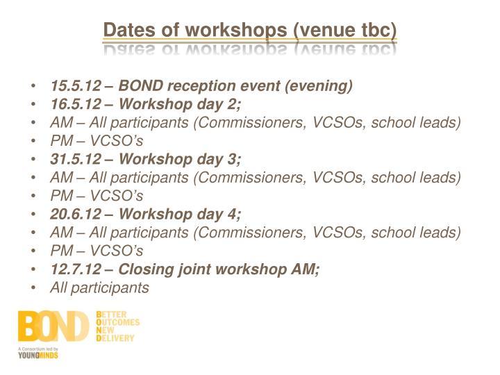 Dates of workshops (venue