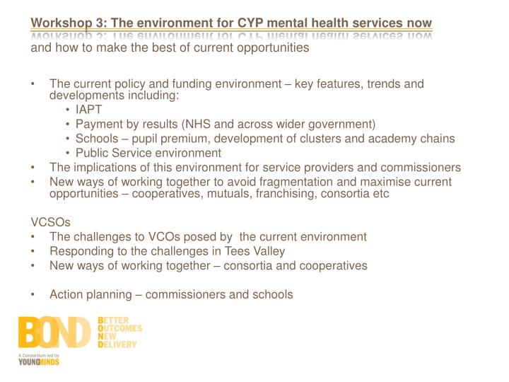 Workshop 3: The environment for CYP mental health services now