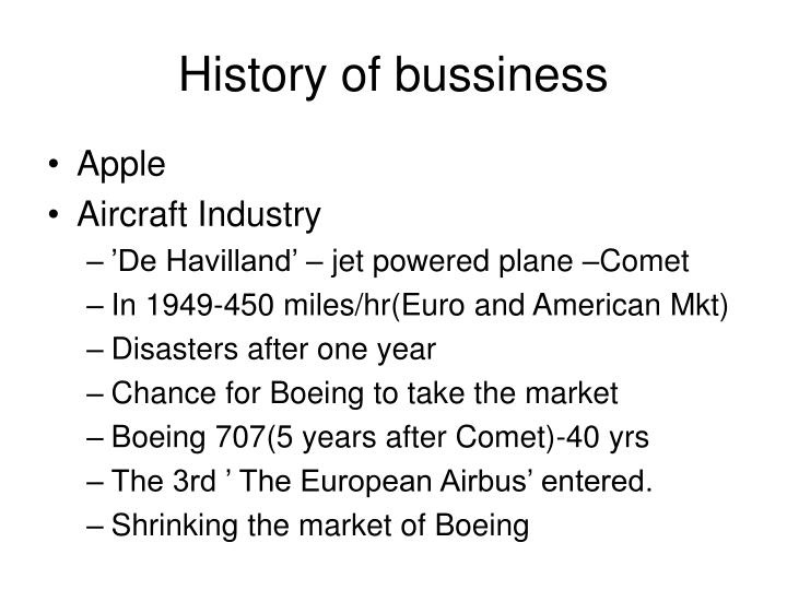 History of bussiness