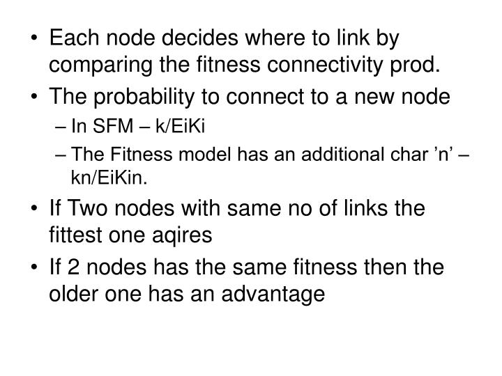 Each node decides where to link by comparing the fitness connectivity prod.