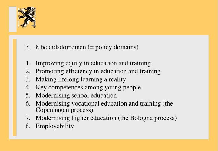 3.8 beleidsdomeinen (= policy domains)