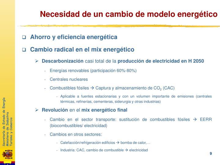 Necesidad de un cambio de modelo energético
