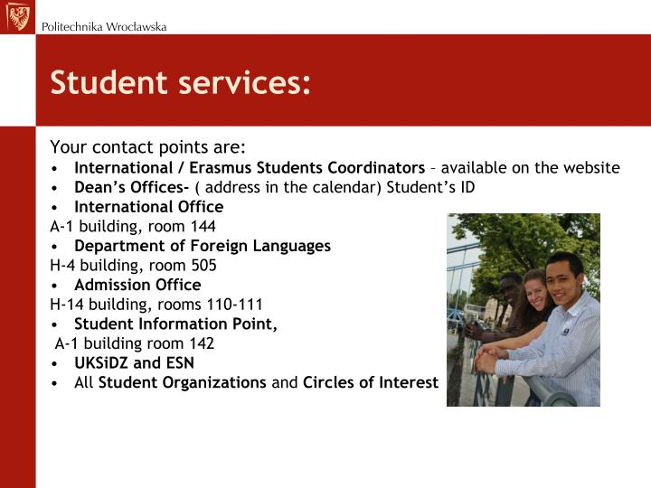 Student services:
