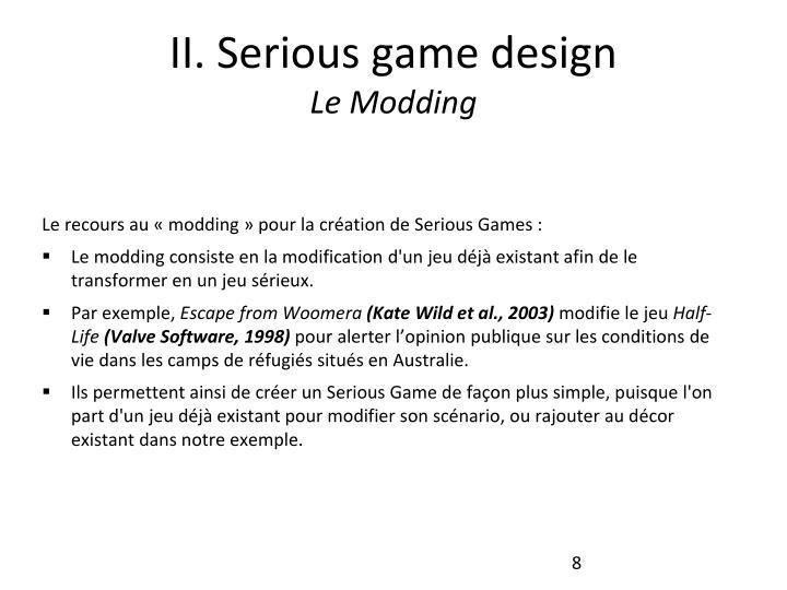 II. Serious game design
