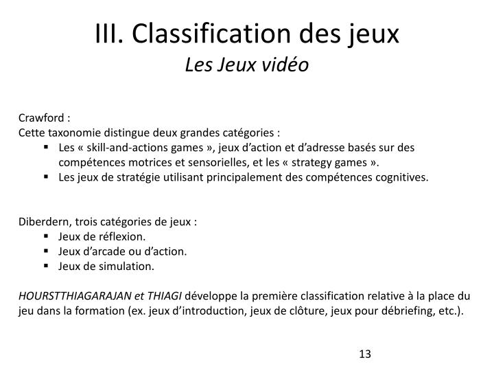 III. Classification des jeux