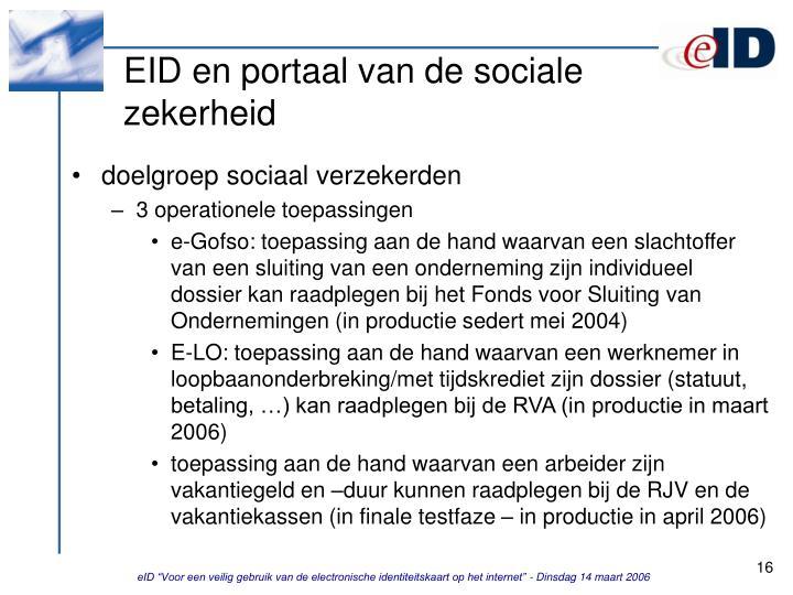 EID en portaal van de sociale zekerheid