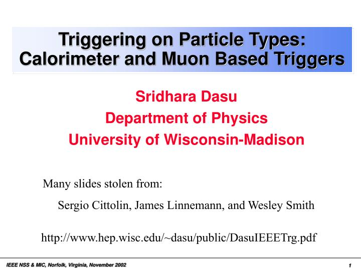 triggering on particle types calorimeter and muon based triggers n.