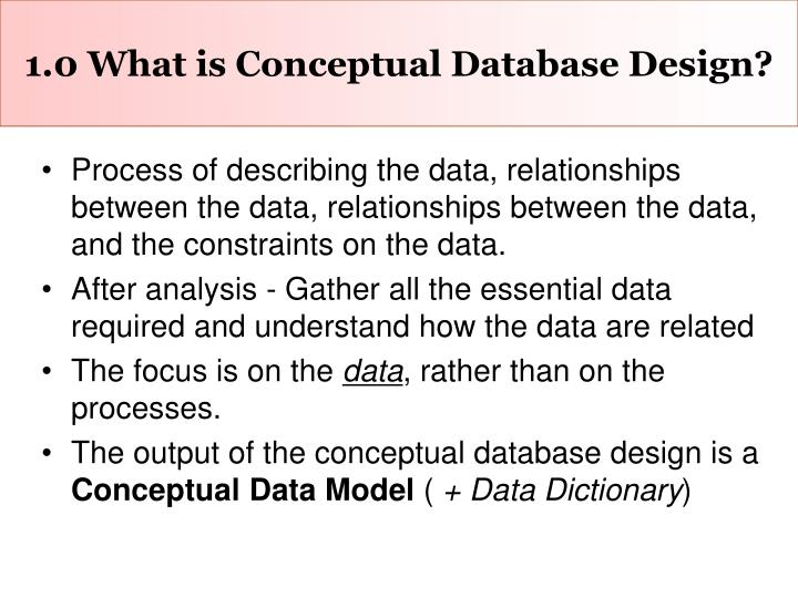 1 0 what is conceptual database design