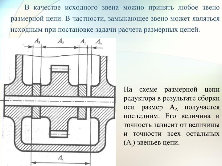 В качестве исходного звена можно принять любое звено размерной цепи. В частности, замыкающее звено может являться исходным при постановке задачи расчета размерных цепей.
