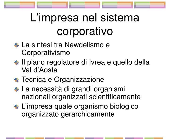 L impresa nel sistema corporativo