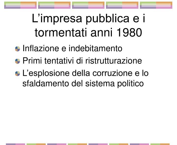 L'impresa pubblica e i tormentati anni 1980