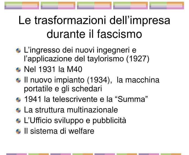 Le trasformazioni dell impresa durante il fascismo