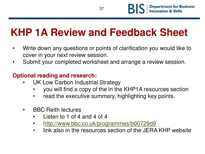 KHP 1A Review and Feedback Sheet