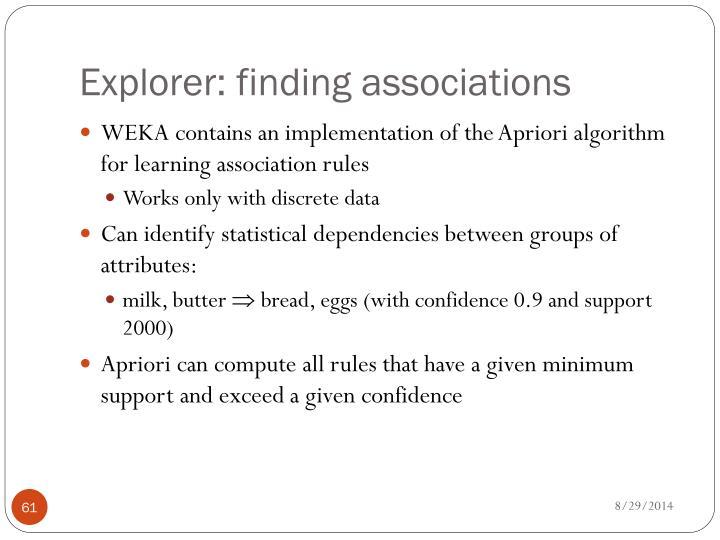 Explorer: finding associations