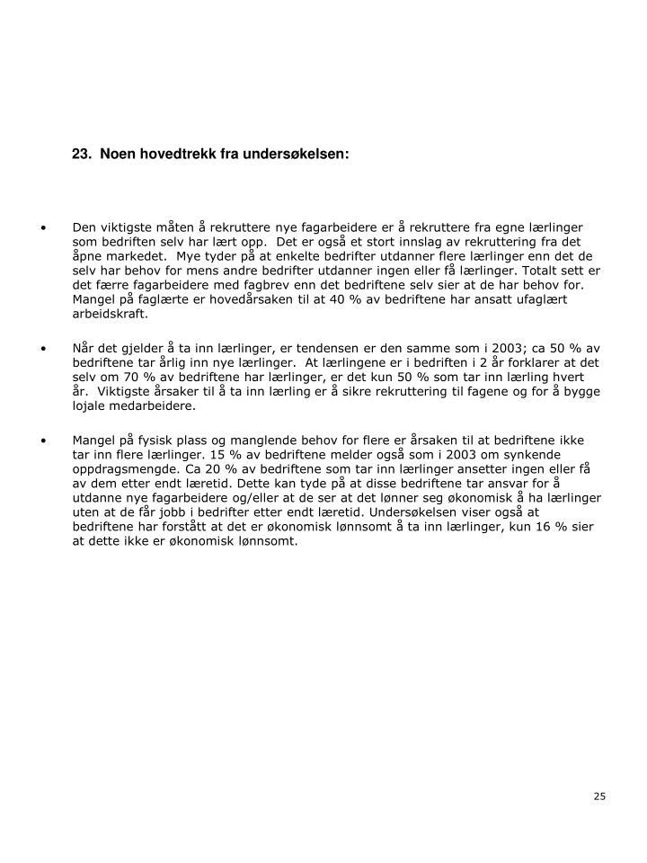 23.  Noen hovedtrekk fra undersøkelsen: