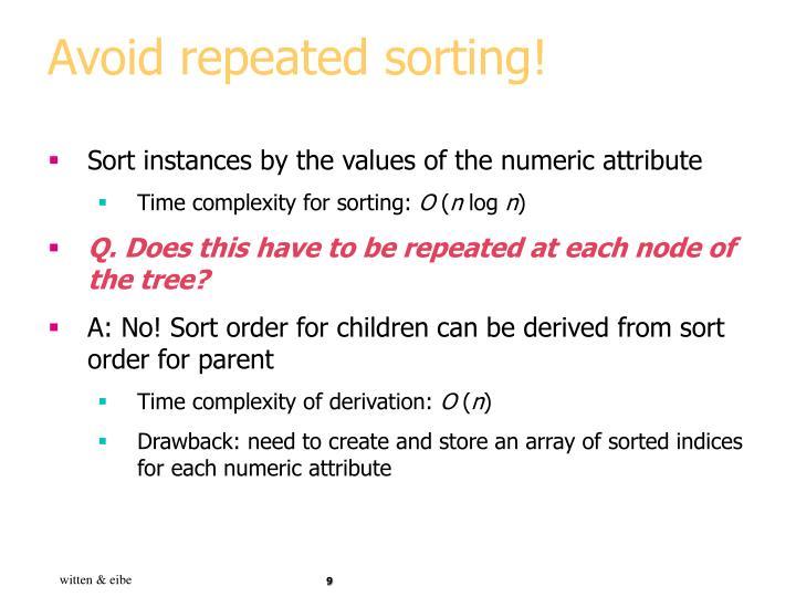 Avoid repeated sorting!