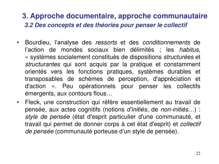 3. Approche documentaire, approche communautaire