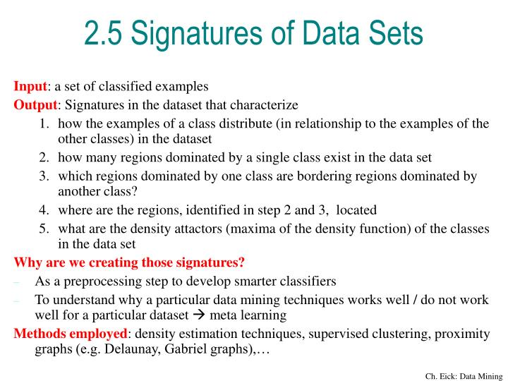 2.5 Signatures of Data Sets